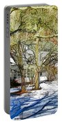 Traditional American Home In Winter Portable Battery Charger by Lanjee Chee