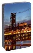 Traffic Light Trails On Steel Bridge Portable Battery Charger