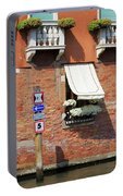 Traffic Signs On The Canal In Venice Italy Portable Battery Charger