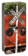 Train - Yard - Railroad Crossing Portable Battery Charger by Mike Savad