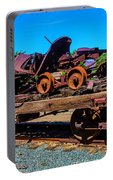 Train Wreckage On Flat Car Portable Battery Charger