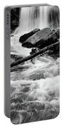 Trap Falls In Ashby Ma Black And White 1 Portable Battery Charger