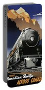 Travel Canadian Pacific Across Canada - Steam Engine Train - Retro Travel Poster - Vintage Poster Portable Battery Charger