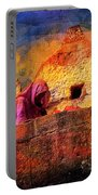 Travel Exotic Woman On Ramparts Mehrangarh Fort India Rajasthan 1h Portable Battery Charger