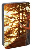 Traveler Woman In The Forest Portable Battery Charger