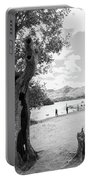 Tree And People By The Lake Portable Battery Charger