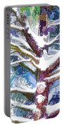 Tree Branches Covered By Snow In Winter Portable Battery Charger