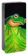 Tree Frog On A Leaf With Lady Bug Portable Battery Charger