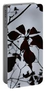 Tree, Leaves, Black, White Portable Battery Charger
