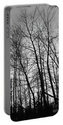 Tree Silhouette Bw Portable Battery Charger