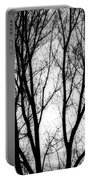 Tree Silhouettes In Black And White Portable Battery Charger