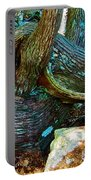 Tree Trunk By Jordan Pond In Acadia National Park-maine Portable Battery Charger
