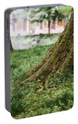 Tree Trunks In Spring Portable Battery Charger