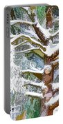 Tree With White Fluffy Snow Portable Battery Charger