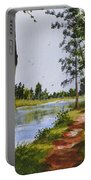 Trees Along The River Portable Battery Charger