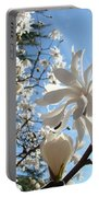 Trees Art Prints White Magnolia Flowers Baslee Troutman Portable Battery Charger