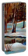 Trees At The Rivers Edge Portable Battery Charger