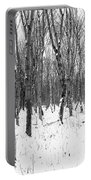 Trees In Winter Snow, Black And White Portable Battery Charger