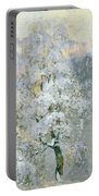 Trees In Wintry Silver Portable Battery Charger