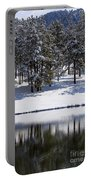 Trees Reflecting In Duck Pond In Colorado Snow Portable Battery Charger