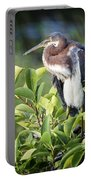 Tri-colored Heron On Guard  Portable Battery Charger