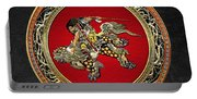 Tribute To Hokusai - Shoki Riding Lion  Portable Battery Charger