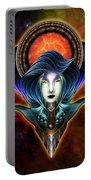 Trilia Red Nebula Fractal Art Portrait Portable Battery Charger