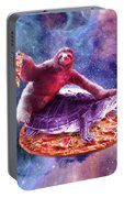 Trippy Space Sloth Turtle - Sloth Pizza Portable Battery Charger