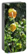 Trollius Europaeus Spring Flowers In The Rain Portable Battery Charger