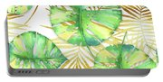 Tropical Haze Blanche Variegated Monstera Leaves, Golden Palm Fronds On Black Portable Battery Charger