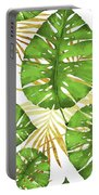 Tropical Haze Green Monstera Leaves And Golden Palm Fronds Portable Battery Charger