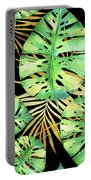 Tropical Haze Noir Variegated Monstera Leaves, Golden Palm Fronds On Black Portable Battery Charger
