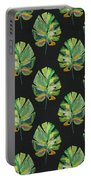 Tropical Leaves On Black- Art By Linda Woods Portable Battery Charger