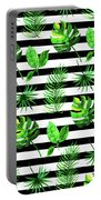 Tropical Leaves Pattern In Watercolor Style With Stripes Portable Battery Charger