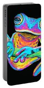 Tropical Rainbow Frog On A Vine Portable Battery Charger by Nick Gustafson