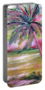 Tropical Sunset In Pink With Palm Tree Portable Battery Charger
