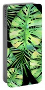 Tropics Noir, Tropical Monstera And Palm Leaves At Night Portable Battery Charger