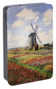 Tulip Fields With The Rijnsburg Windmill Portable Battery Charger