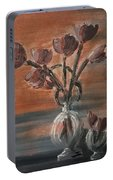 Tulip Flowers Bouquet In Two Round Water Filled Small Globe Shaped Vases On A Table Still Life Of Bo Portable Battery Charger