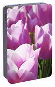 Tulip Garden Flowers Purple Lavender Pastel Art Baslee Troutman Portable Battery Charger