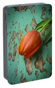 Tulip On Old Green Table Portable Battery Charger