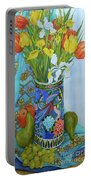 Tulips And Iris In A Japanese Vase, With Fruit And Textiles Portable Battery Charger