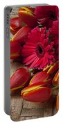 Tulips And Red Daisies  Portable Battery Charger