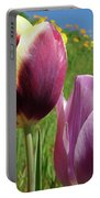 Tulips Artwork Tulip Flowers Spring Meadow Nature Art Prints Portable Battery Charger