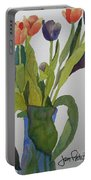 Tulips In Blue Vase Portable Battery Charger