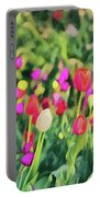 Tulips. Monet Style Digital Painting. Portable Battery Charger