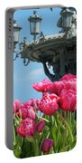 Tulips With Bartholdi Fountain Portable Battery Charger