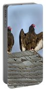 Turkey Vultures On Roof Portable Battery Charger