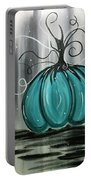 Turquoise Teal Surreal Pumpkin Portable Battery Charger