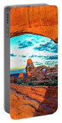Turret Arch Through Window Portable Battery Charger by Norman Hall